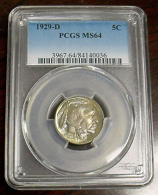 1929-D Buffalo Nickel PCGS MS64, Rare and Beautiful with Original Color