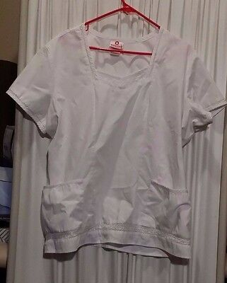 Women's Scrub top XL  previously worn VG condition Solid White Lace trim