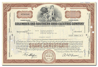 Columbus and Southern Ohio Electric Company Stock Certificate