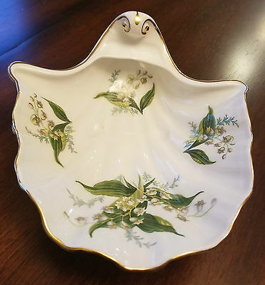 Hammersley Bone China Clam Shaped Bowl Dish Lily of the Valley