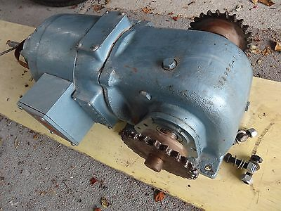 Electric motor with reduction gearbox and dual sprocket drive and 5.5m chain