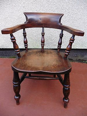 ANTIQUE CHILDS  BOW ARMCHAIR, CAPTAINS CHAIR, ELM & BEECH, CIRCA 1900 / 1920s.