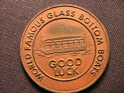 SILVER SPRINGS, FL Good Luck Token for Glass Bottom Boat Vintage Lucky Exonumia