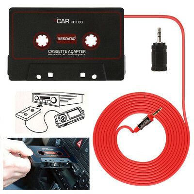 Auto Car Cassette Adapter for mobile Samsung Nokia iphone MP3 iPod CD 3.5mm Lead