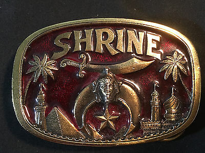 Shrine Shriners Masonic Logo Belt Buckle 1986 Made In USA Red and Gold Tone