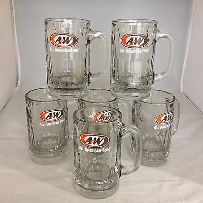 Set of 6 A & W Root Beer Mugs HEAVY 2Lbs 10 Ounces Each - EXCELLENT CONDITION!