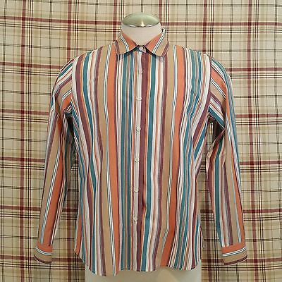 Foxcroft Long Sleeve Button Down Shirt SZ 14 Blue White Peach Stripes Wrink Free