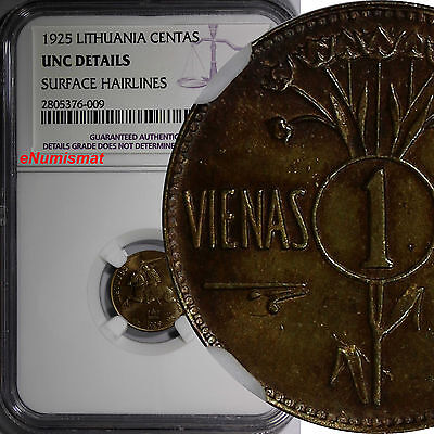 Lithuania 1925 1 Centas NGC UNC DETAILS 1 YEAR TYPE SCARCE KM# 71