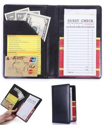 "Restaurant Guest Check Book Holder Money Server Apron Black 5"" x 7.5"" Waitress"