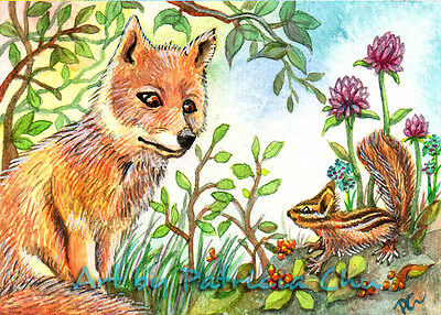 "ACEO LE Art Card Print 2.5x3.5"" Little Fox And Chipmunk Animal Art by Patricia"