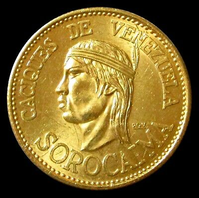 1955 Gold Venezuela 60 Bolivares Sorocaima Caciques Indian Chief 22.2 Gram