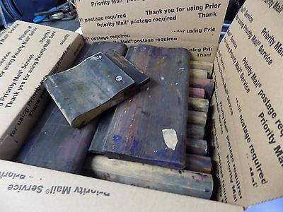 box full of 12  Silk Screen Printing Squeegee Ink ScraperScratch Board used
