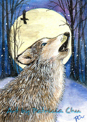 "ACEO LE Art Card Print 2.5""x3.5"" "" Howling "" Animal Wolf Art by Patricia"