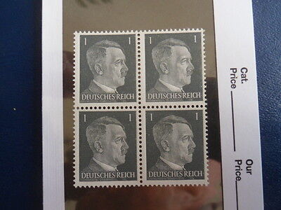Nazi Germany Third Reich Hitler Block of 4 Unused Stamps in Sleeve-1 Pfg -17-176