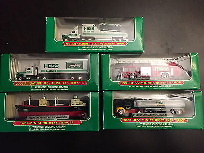 5 Hess Truck Miniatures Great Condition with Packaging