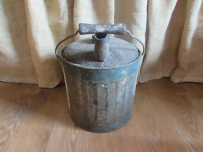 Vintage 2.5 Gallon Metal Gas Can with Wooden Handle #2535