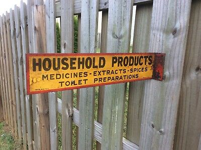 1920's HOUSEHOLD PRODUCTS Flange Sign - Medicines Extracts Spices Toilet Prep
