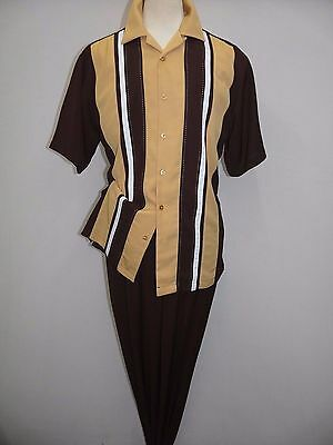 Mens INSERCH 2pc Set Walking Leisure Suit Short Sleeves 2 Tone 80356 Brown Gold
