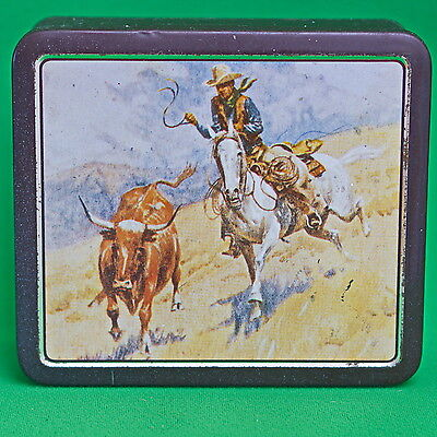 Vintage Chocolate Brown Collectible Metal Container (W. Germany), Cowboy Scene