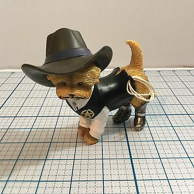 SHER-RUFF S. PAWS Cowboy Yorkie Figurine by THE HAMILTON COLLECTION