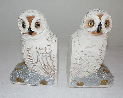 Pair of White Chalkware Owl Bookends By Midwest of Cannon Falls