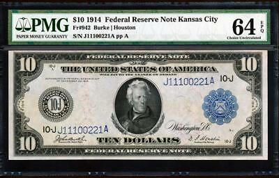 "Fr.942 1914 $10 KANSAS CITY ""BURKE-HOUSTON"" FRN + PMG CHOICE UNCIRCULATED 64EPQ"