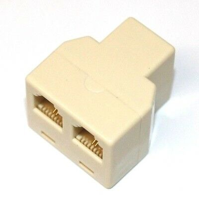 RJ11 6P4C Y 1 Female to 2 Female Adapter Divider Splitter Telephone Phone Fax/_b