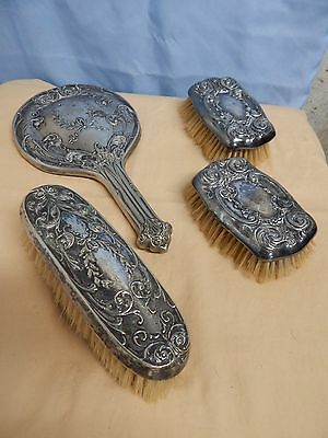Antique Silver Plated Brush and Mirror Set