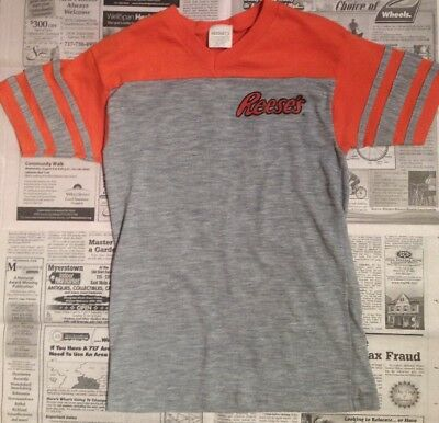80s V-neck Jersey Tee Tshirt Reese's Peanut Butter Cup Vintage Boys