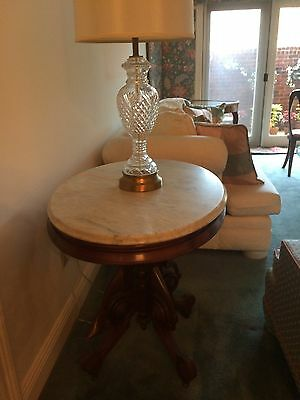 Antique Victorian Parlor Table, Marble top, Oval shape