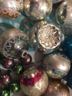 Vintage Shiny Brite Ornaments LOT INDENT SHABBY GLITTERED STENCIL DECORATIONS