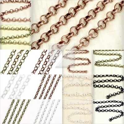 4M 2M Rolo Chain Unfinished Chains DIY Necklaces 2.7/3/3.9/6.5mm 4 Colors BW