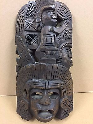Carved Wood Aztec Warrior Wall Mask Folk Art Totem Mexican