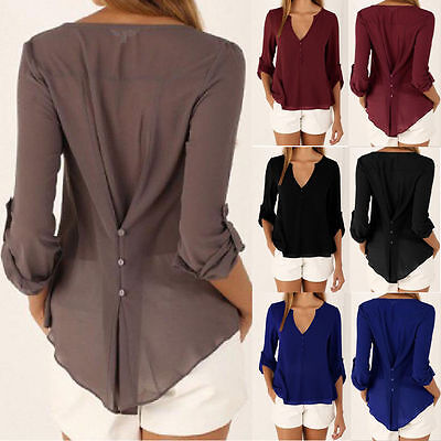 Women Chiffon V Neck Long Sleeve Casual Blouses T-shirts Plus Size Business Tee