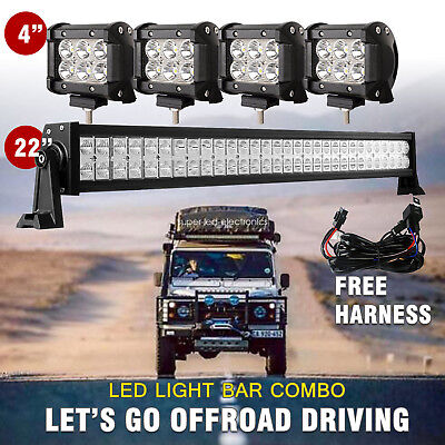 "22inch 120W Led Light Bar Spot&Flood Offroad Driving Atv Ute Suv + 4"" CREE Pods"