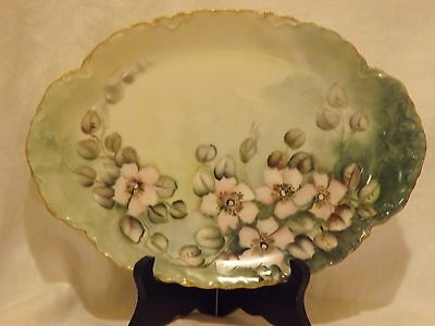Antique Hand Painted Haviland France Pink Dogwood Platter*Limoges*Green*Gold