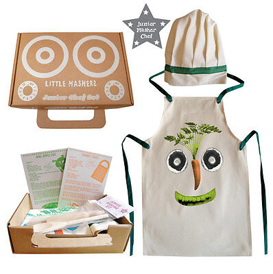 NEW Kids Chef Set with Cooking Apron Chef Hat Wooden Rolling Pin Spoon Gift