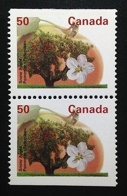 Canada #1365as PP 13.1 MNH, Snow Apple Tree Booklet Pair of Stamps 1994