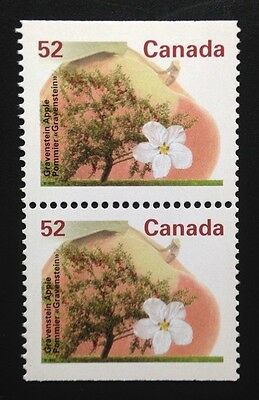 Canada #1366as PP 13.1 MNH, Gravenstein Apple Tree Booklet Pair of Stamps 1995