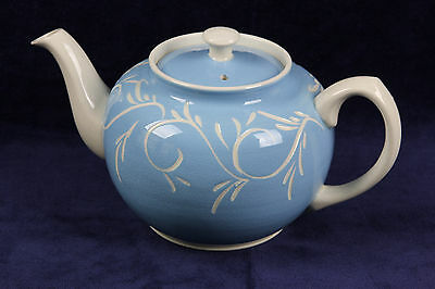 Vintage Sadler Blue Off White 4 Cup Tea Pot Staffordshire England Carved Design