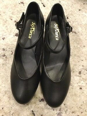 NEW So Danca CH50 W6 L Black Character Shoes 1.5 In Heel