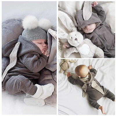US Stock Newborn Babys Rabbit Ear Warm Clothes Romper Hooded Jumpsuit Outfits