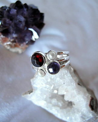 605 Garnet,Amethyst,Pearl ring Solid 925 Sterling Silver size O / Q  rrp$79.95