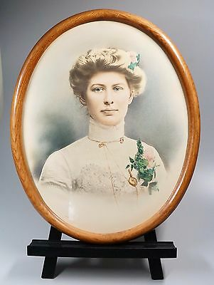 "21"" x 17"" Antique Photograph Hand Tinted Gibson Girl Edwardian + Bonus Oak Frame"