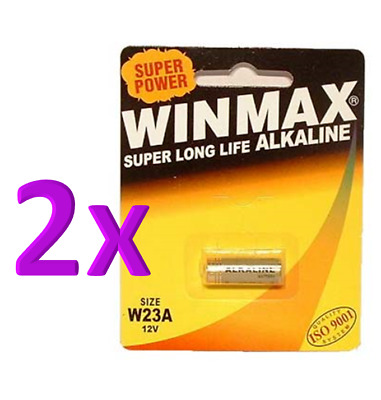 2 x Winmax A23 W23A Alkaline Battery Car Security Door Remote Batteries 12V
