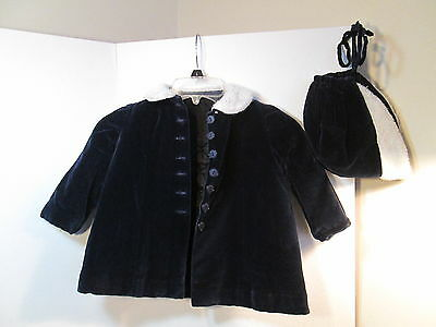 Vintage Girls Royal Blue Velvet Fur Coat & Hat Child's Toddler Sz 2 / 3