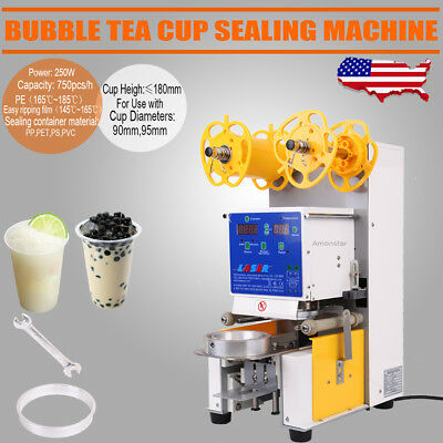 Full Automatic Electric Cup Sealing Machine Boba Bubble Tea Coffee 750Cups/Hr