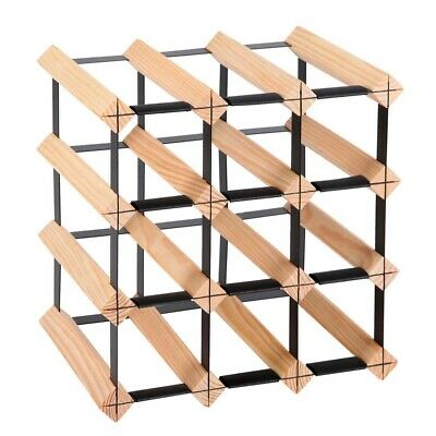 NEW 12 Bottles Capacity Heavy Duty Steel & Timber Kitchen Cellar Bar Wine Rack