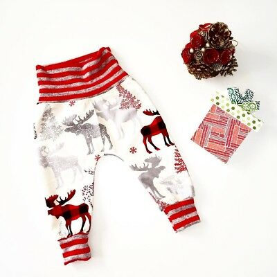 Cute Christmas Reindeer Kids Baby Bottoms Trousers Leggings Cotton Harem Pants