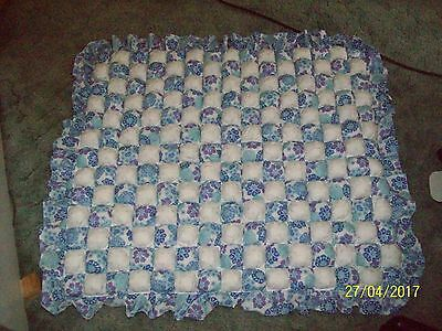 Blue and White Small puffed Cot Quilt or Play Mat